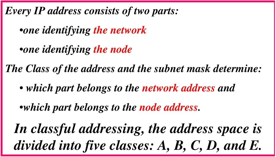 which part belongs to the network address and which part belongs to the node