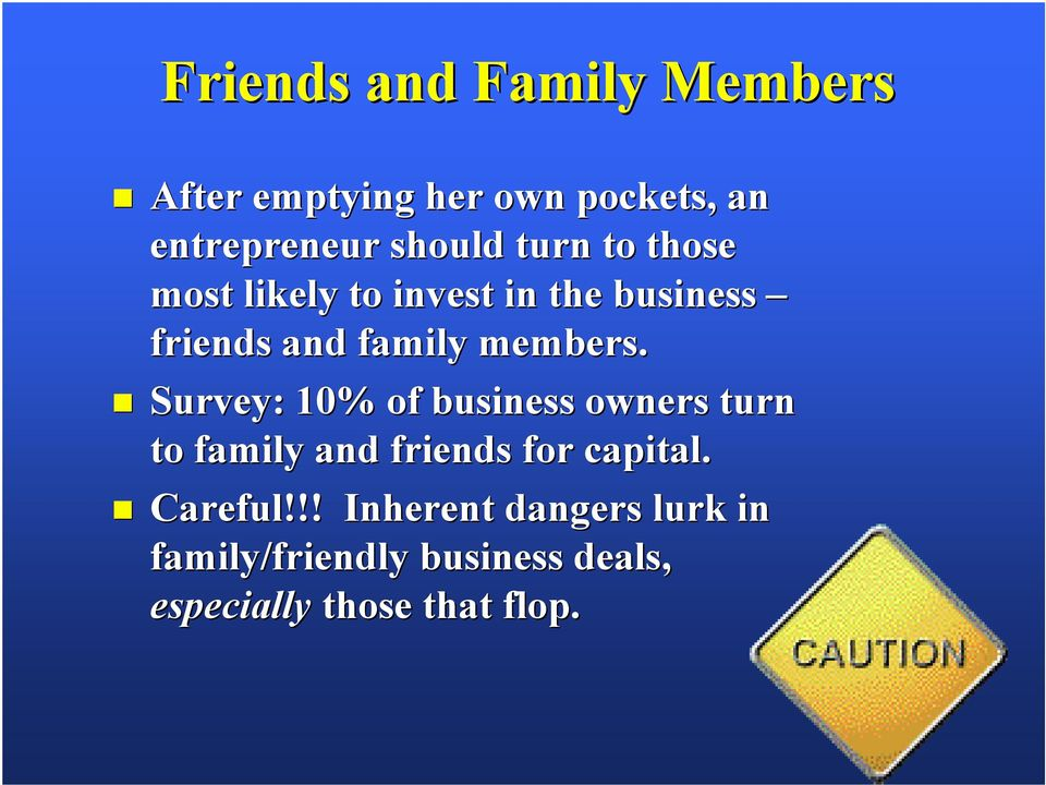 Survey: 10% of business owners turn to family and friends for capital. Careful!