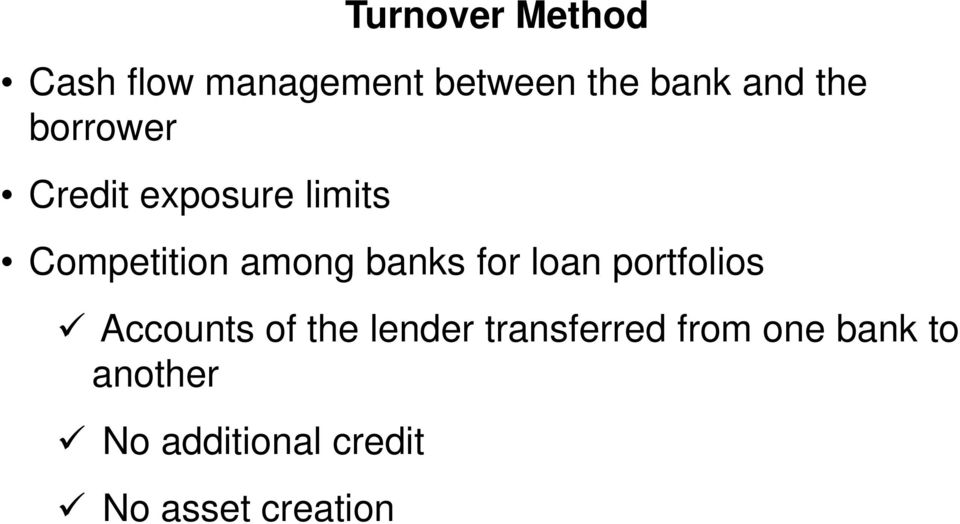 banks for loan portfolios Accounts of the lender