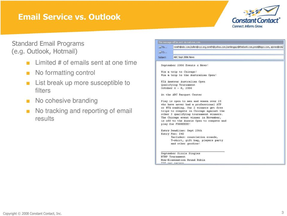 Outlook, Hotmail) Limited # of emails sent at one time No formatting