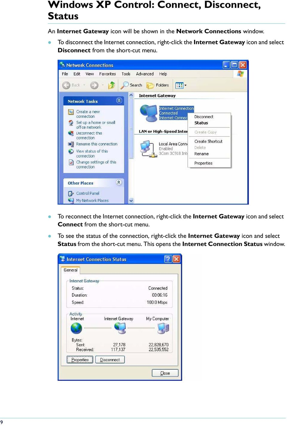 To reconnect the Internet connection, right-click the Internet Gateway icon and select Connect from the short-cut menu.