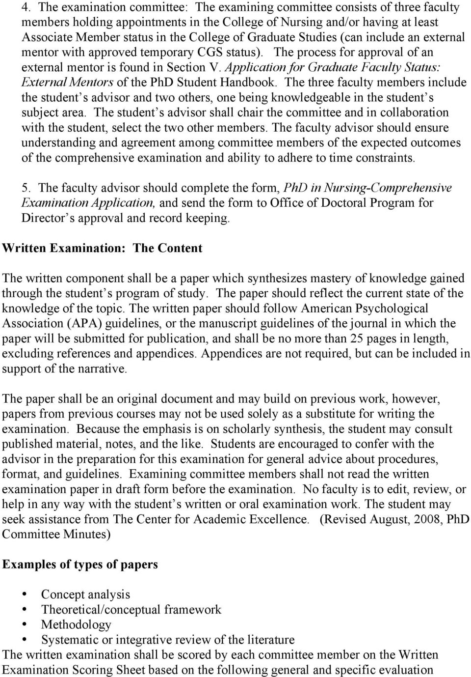 Application for Graduate Faculty Status: External Mentors of the PhD Student Handbook.