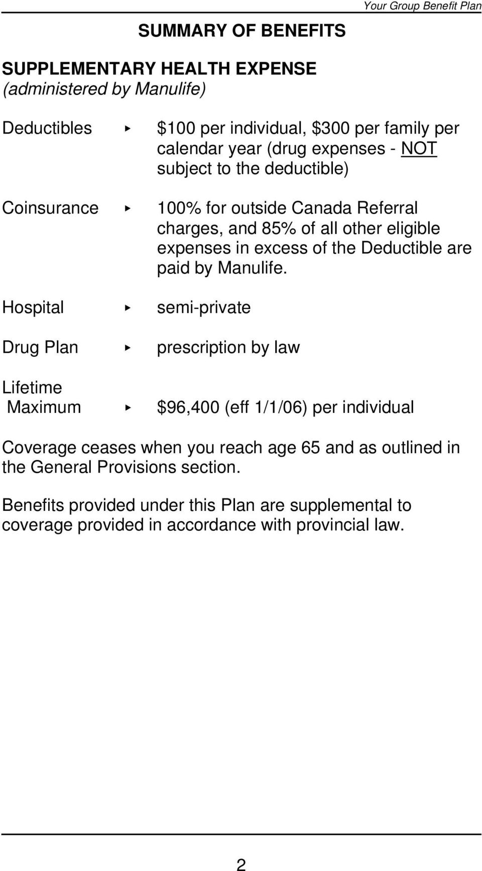 Deductible are paid by Manulife.