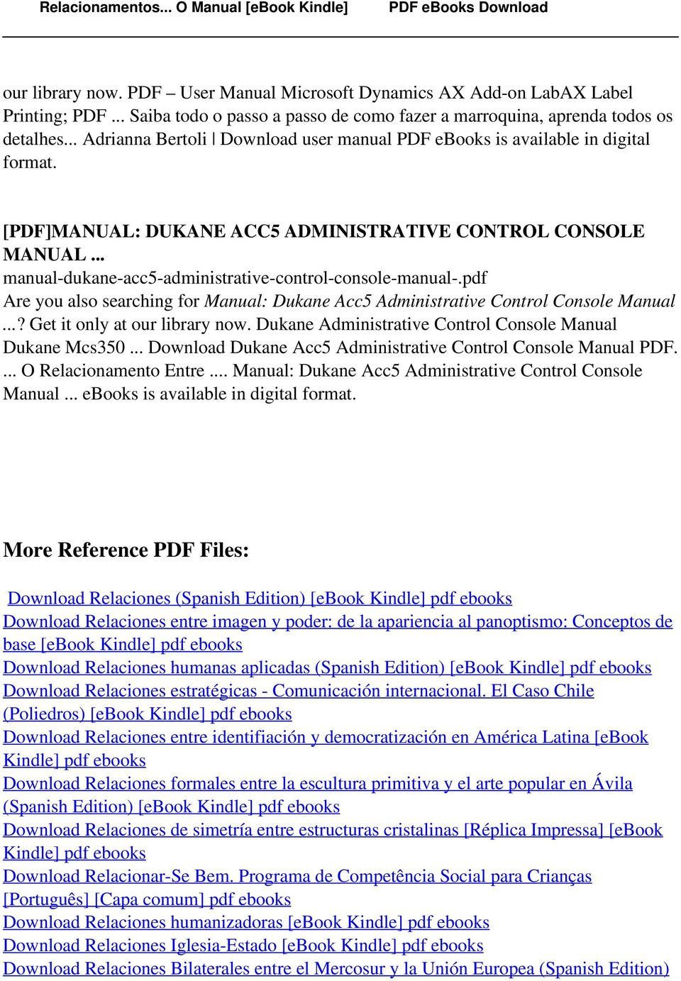 pdf Are you also searching for Manual: Dukane Acc5 Administrative Control  Console Manual.