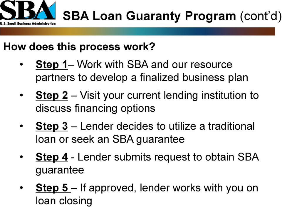 current lending institution to discuss financing options Step 3 Lender decides to utilize a