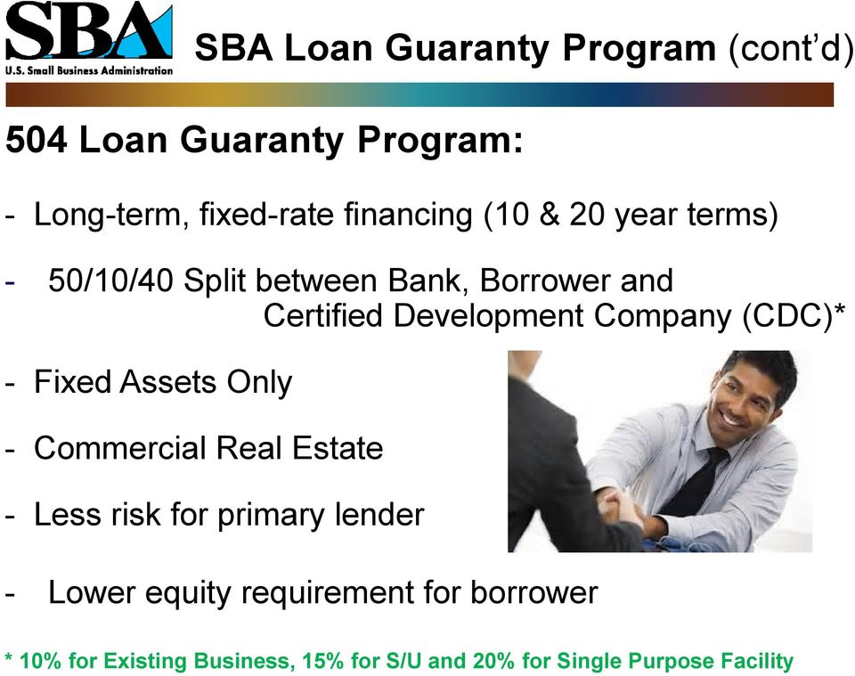 Loan Guaranty Program (cont d) - Commercial Real Estate - Less risk for primary lender - Lower