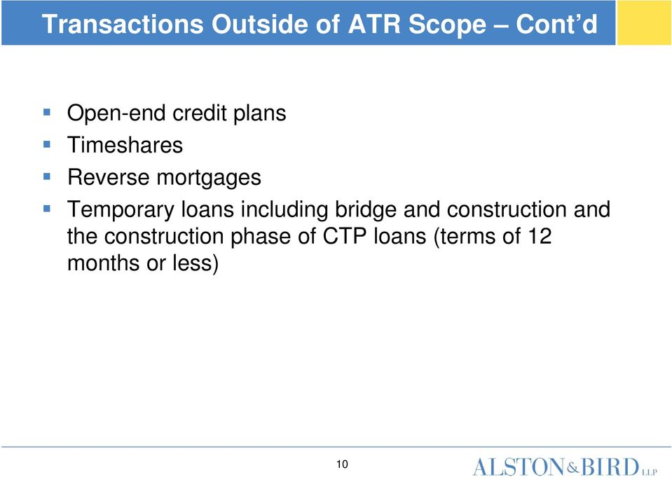 loans including bridge and construction and the