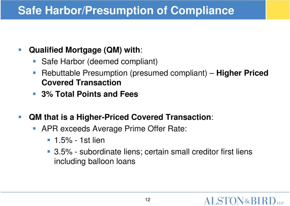 Points and Fees QM that is a Higher-Priced Covered Transaction: APR exceeds Average Prime Offer