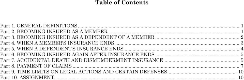 WHEN A DEPENDENT'S INSURANCE ENDS... 4 Part 6. BECOMING INSURED AGAIN AFTER INSURANCE ENDS... 5 Part 7.