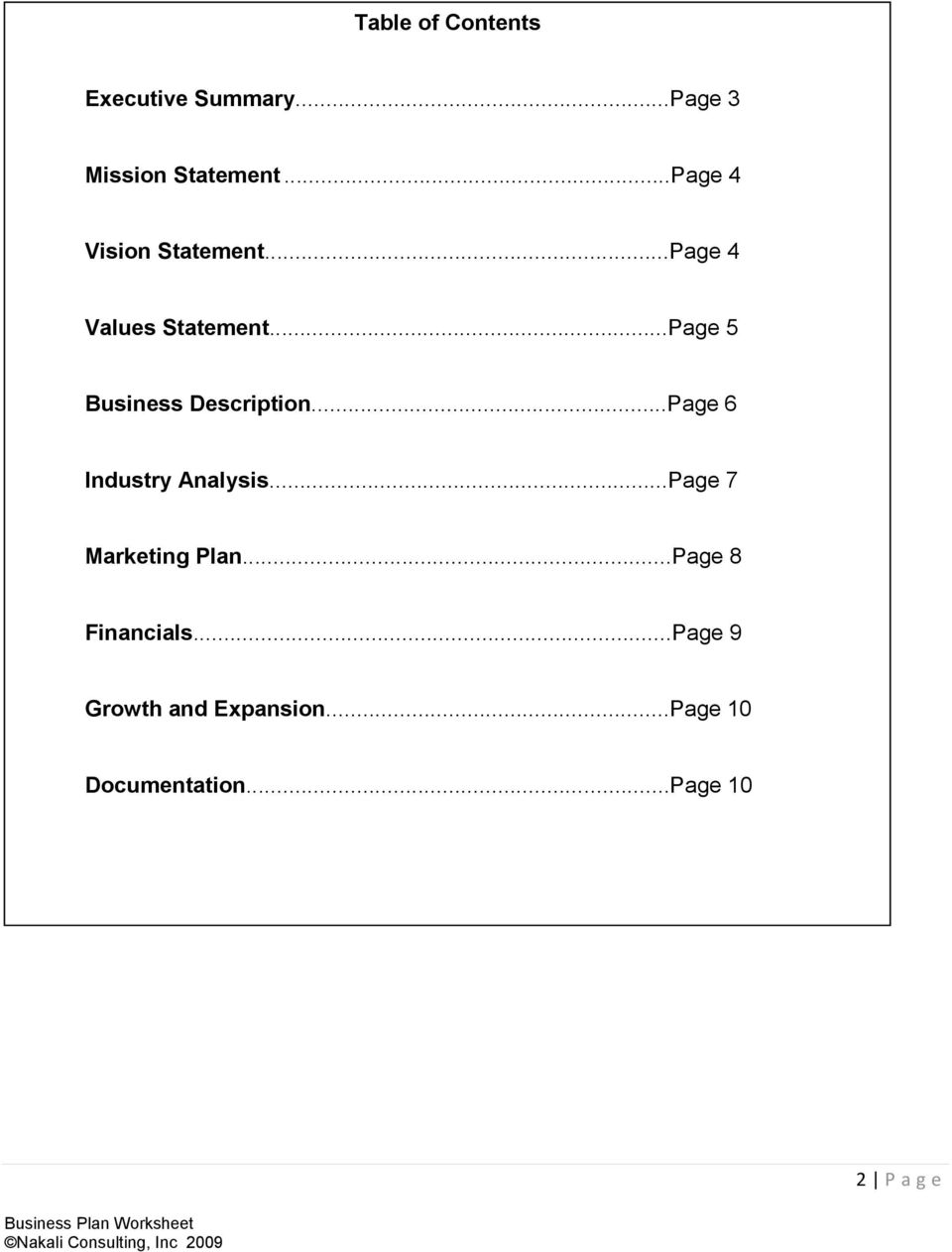 ..Page 5 Business Description...Page 6 Industry Analysis.