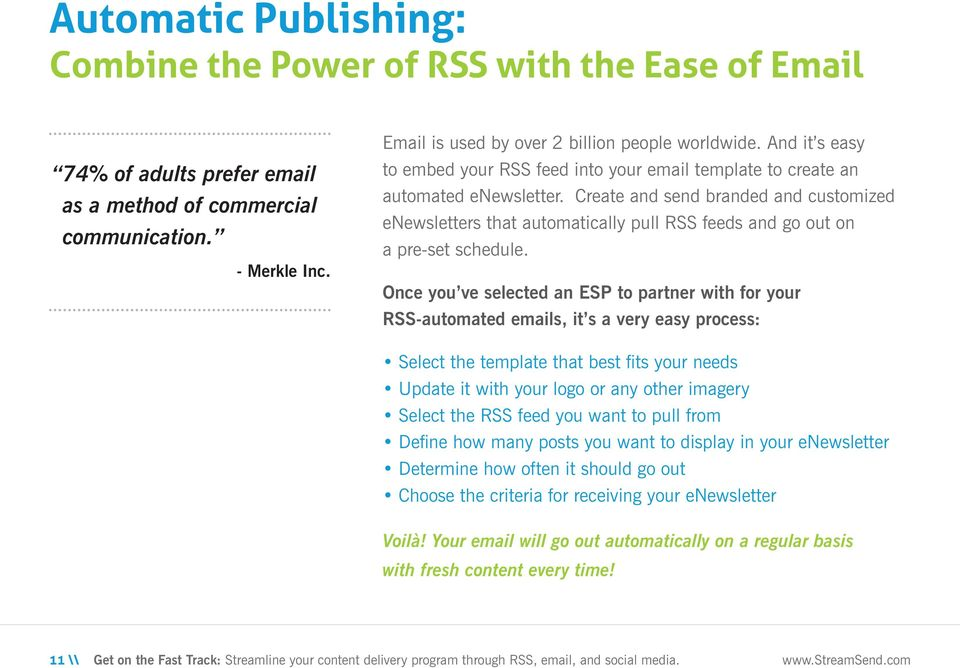 Create and send branded and customized enewsletters that automatically pull RSS feeds and go out on a pre-set schedule.
