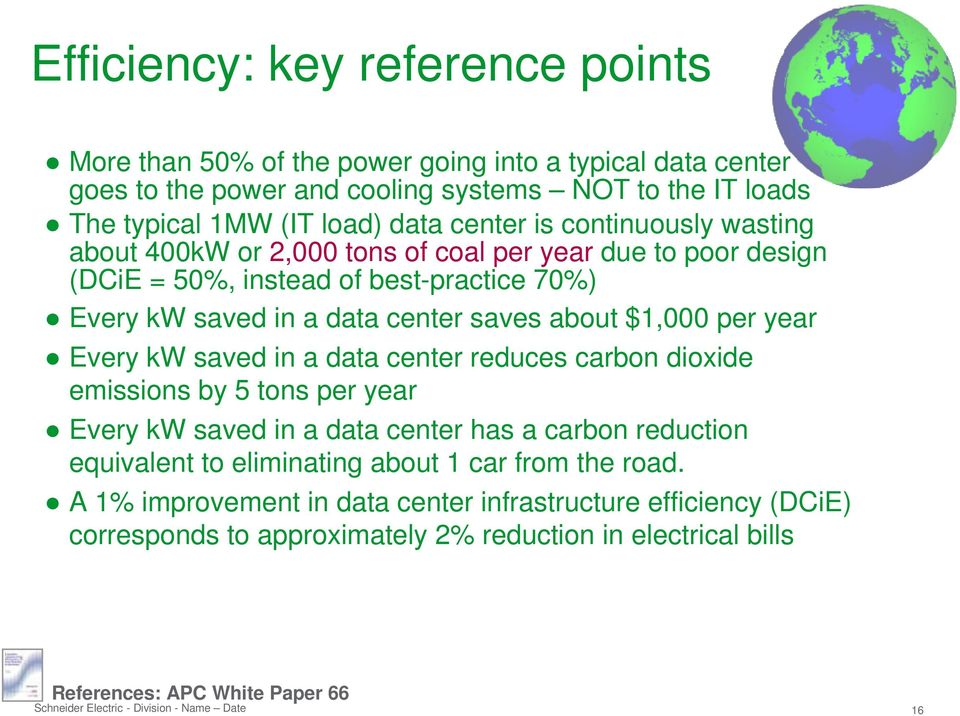 $1,000 per year Every kw saved in a data center reduces carbon dioxide emissions by 5 tons per year Every kw saved in a data center has a carbon reduction equivalent to eliminating