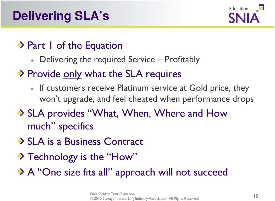 and feel cheated when performance drops SLA provides What, When, Where and How much specifics