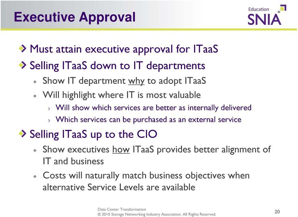 services can be purchased as an external service Selling ITaaS up to the CIO Show executives how ITaaS provides better