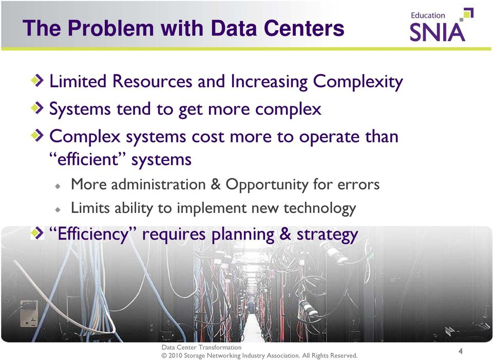 than efficient systems More administration & Opportunity for errors