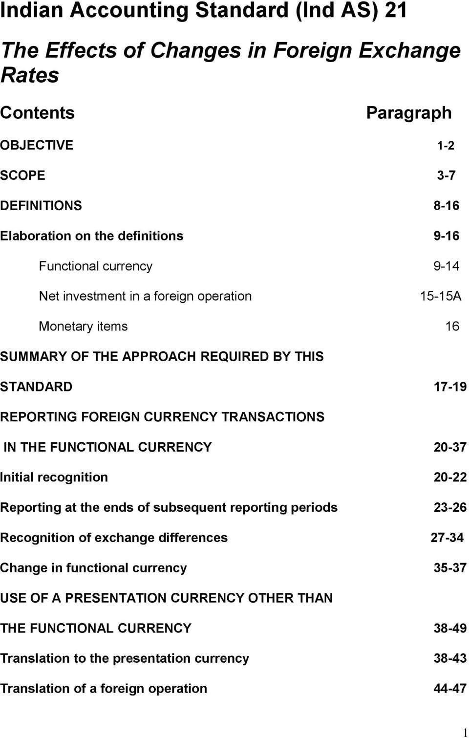 TRANSACTIONS IN THE FUNCTIONAL CURRENCY 20-37 Initial recognition 20-22 Reporting at the ends of subsequent reporting periods 23-26 Recognition of exchange differences 27-34 Change