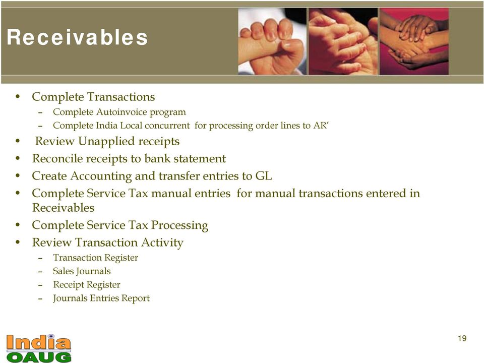 entries to GL Complete Service Tax manual entries for manual transactions entered in Receivables Complete Service