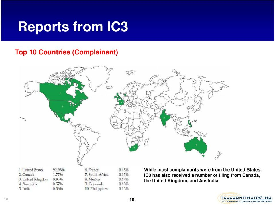 States, IC3 has also received a number of filing