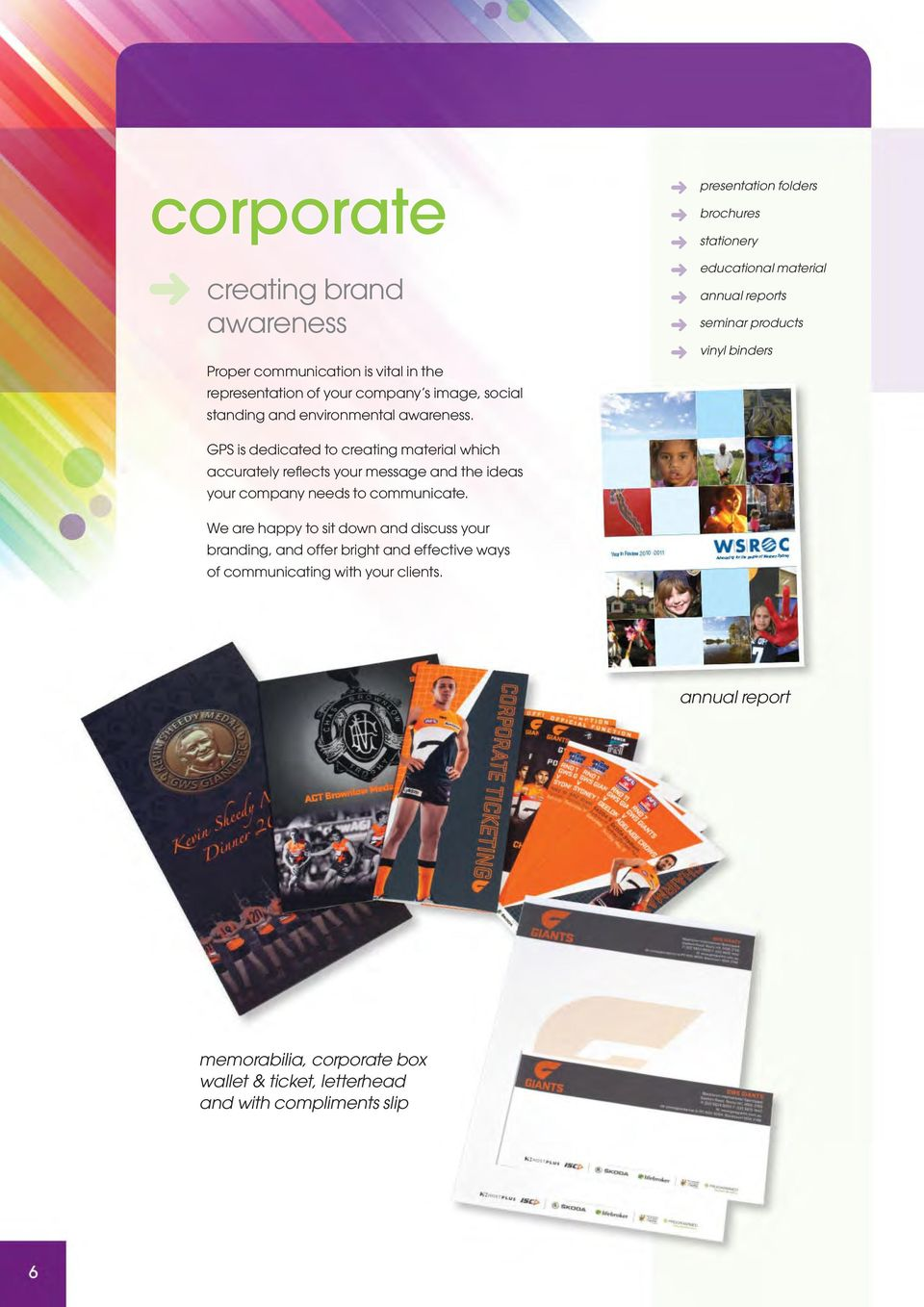 presentation folders brochures stationery educational material annual reports seminar products vinyl binders GPS is dedicated to creating material which