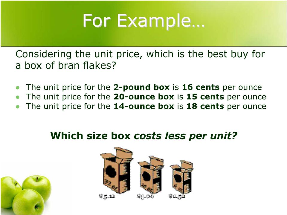 The unit price for the 2-pound box is 16 cents per ounce The unit price
