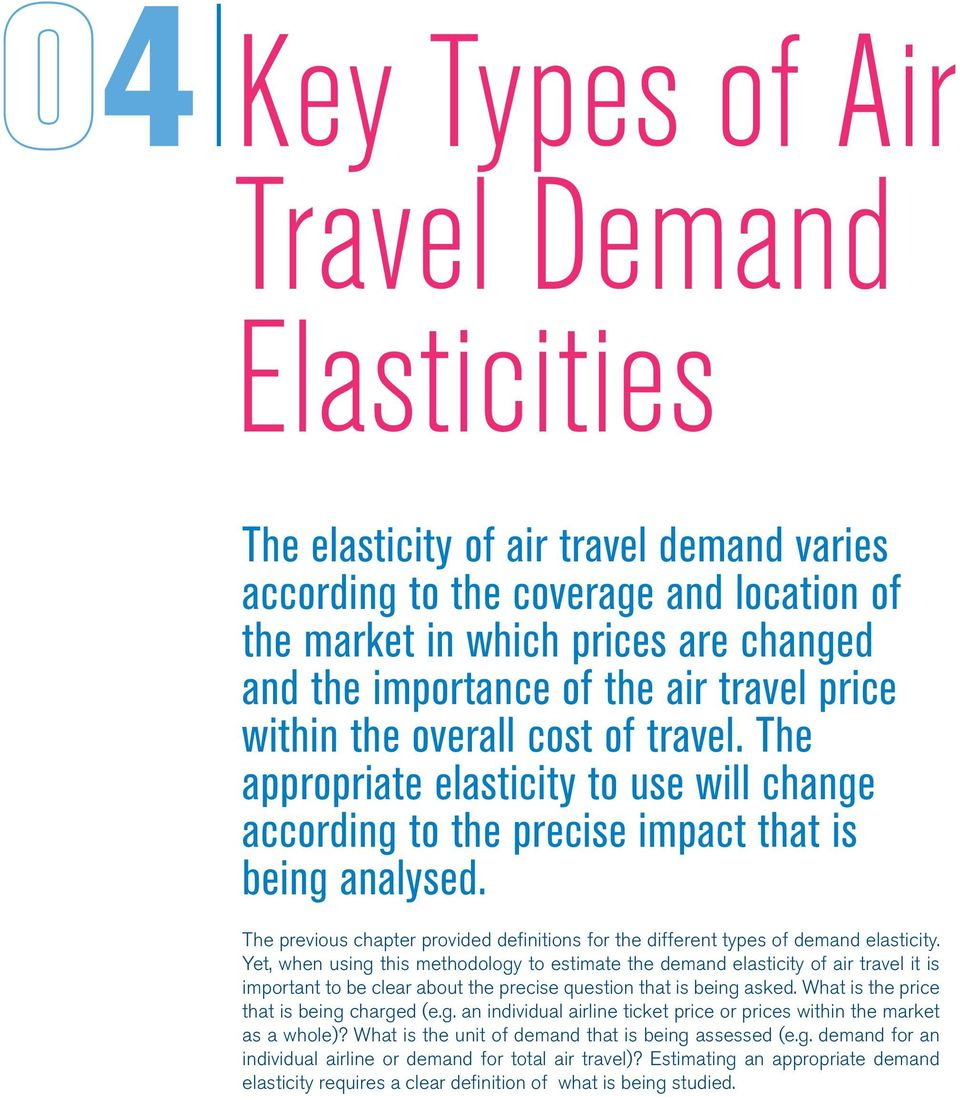 The previous chapter provided definitions for the different types of demand elasticity.