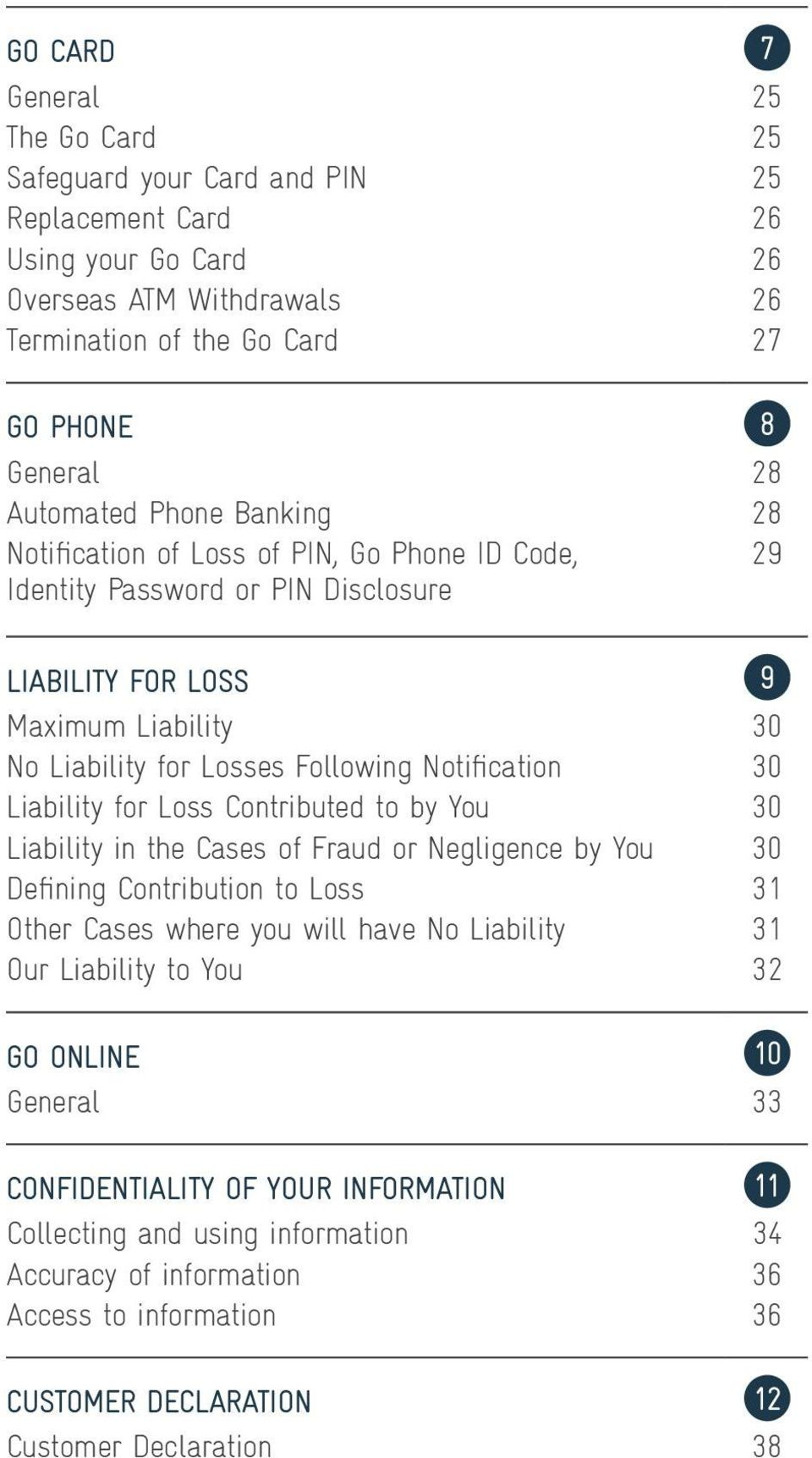 Liability for Loss Contributed to by You 30 Liability in the Cases of Fraud or Negligence by You 30 Defining Contribution to Loss 31 Other Cases where you will have No Liability 31 Our Liability to