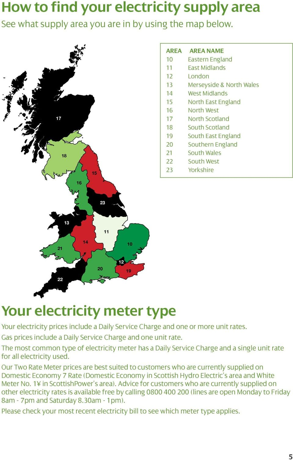 East England 20 Southern England 21 South Wales 22 South West 23 Yorkshire 16 23 13 11 21 14 10 22 20 12 19 Your electricity meter type Your electricity prices include a Daily Service Charge and one