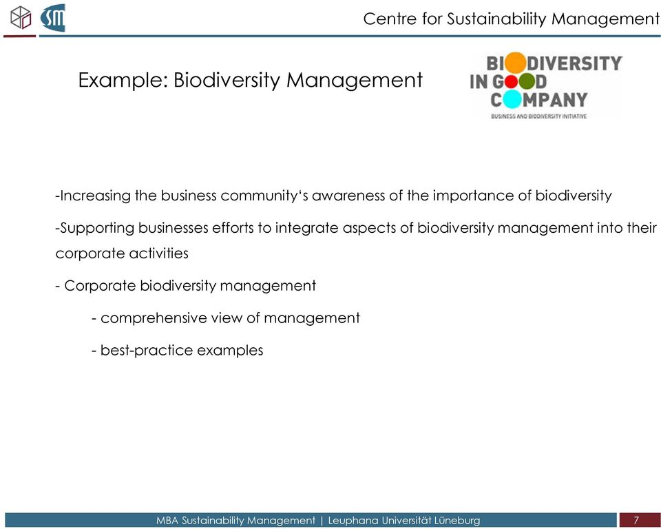 aspects of biodiversity management into their corporate activities - Corporate