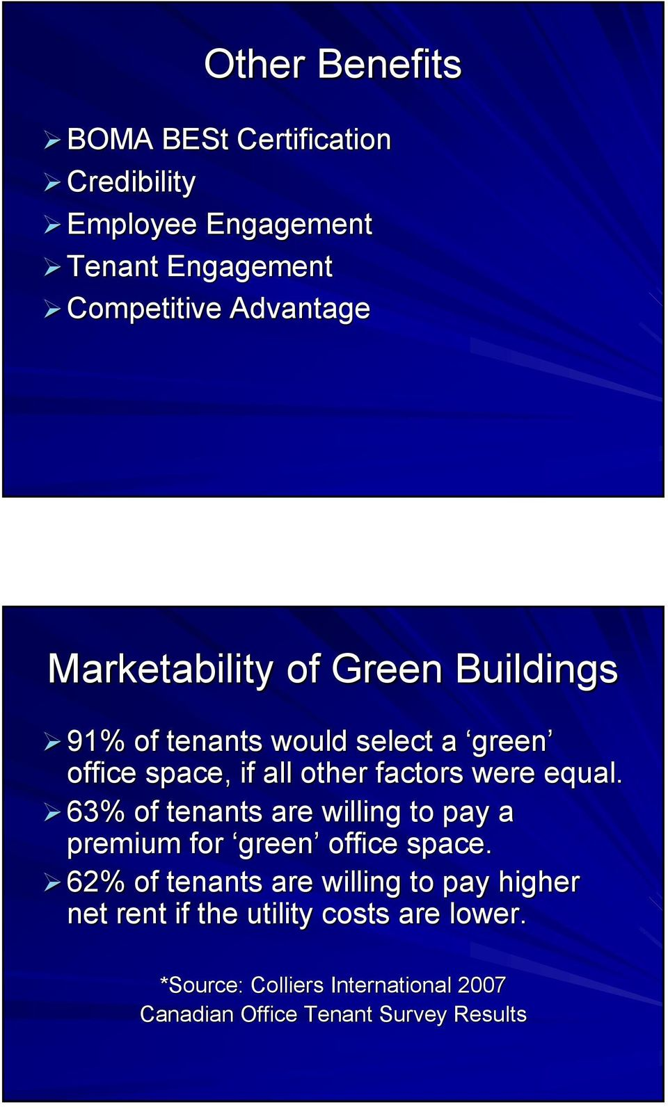 equal. 63% of tenants are willing to pay a premium for green office space.