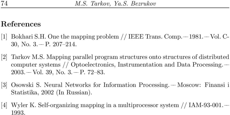 Mapping parallel program structures onto structures of distributed computer systems // Optoelectronics, Instrumentation and Data