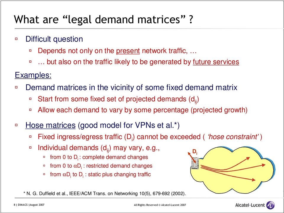 fixed demand matrix Start from some fixed set of projected demands (d ij ) Allow each demand to vary by some percentage (projected growth) Hose matrices (good model for VPNs et al.