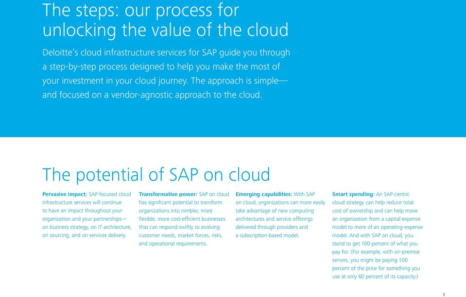 The potential of SAP on cloud Pervasive impact: SAP-focused cloud Transformative power: SAP on cloud Emerging capabilities: With SAP Smart spending: An SAP-centric infrastructure services will