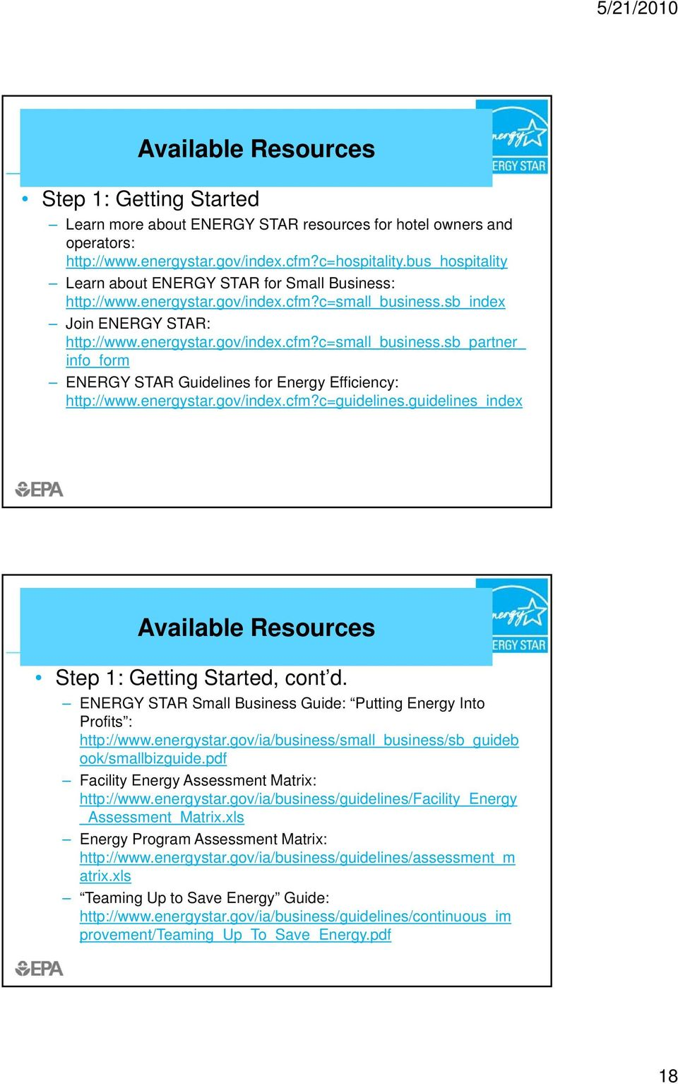 energystar.gov/index.cfm?c=guidelines.guidelines_index Available Resources Step 1: Getting Started, cont d. ENERGY STAR Small Business Guide: Putting Energy Into Profits : http://www.energystar.gov/ia/business/small_business/sb_guideb ook/smallbizguide.
