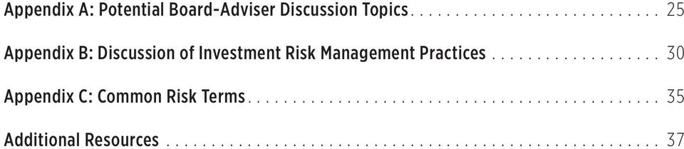 .. 25 Appendix B: Discussion of Investment Risk