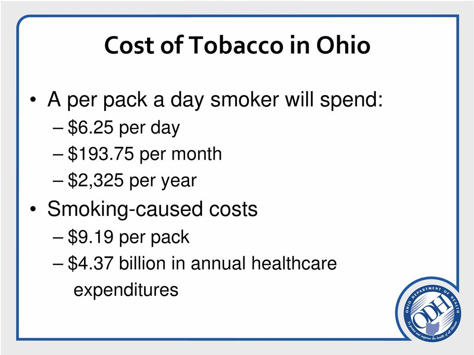 75 per month $2,325 per year Smoking-caused