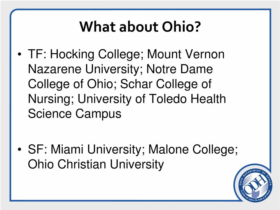 Notre Dame College of Ohio; Schar College of Nursing;