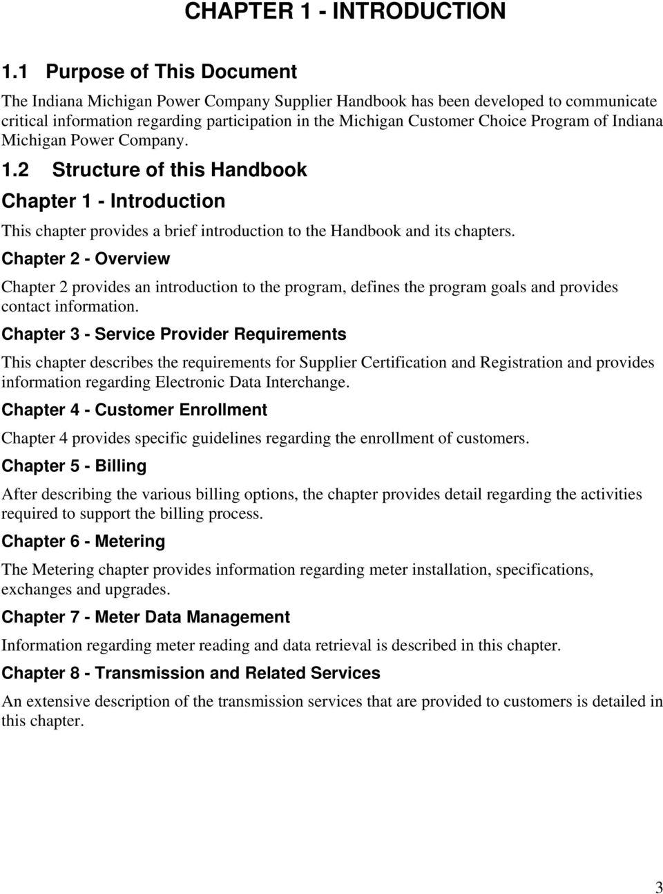of Indiana Michigan Power Company. 1.2 Structure of this Handbook Chapter 1 - Introduction This chapter provides a brief introduction to the Handbook and its chapters.