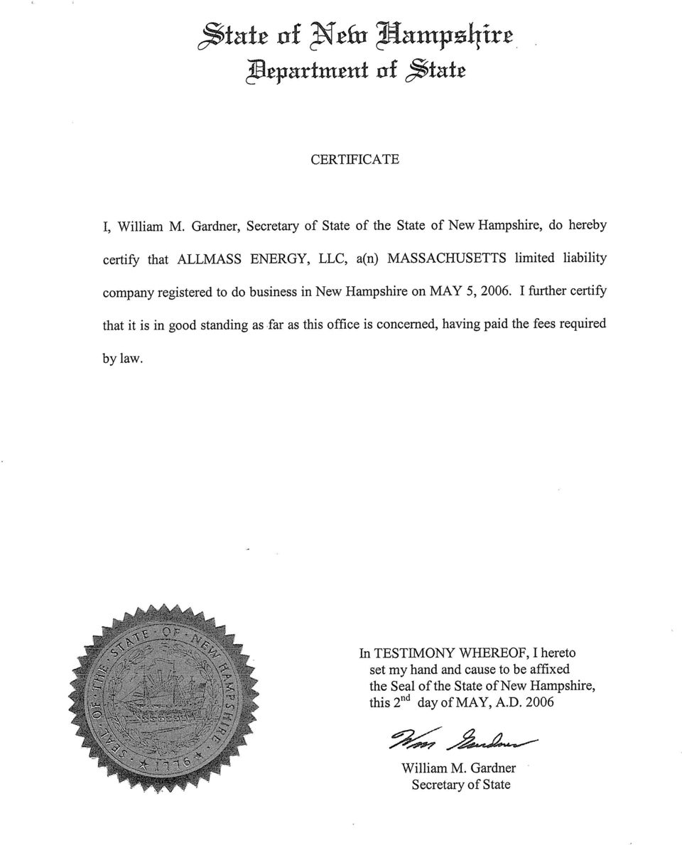 company registered to do business in New Hampshire on MAY 5, 2006.