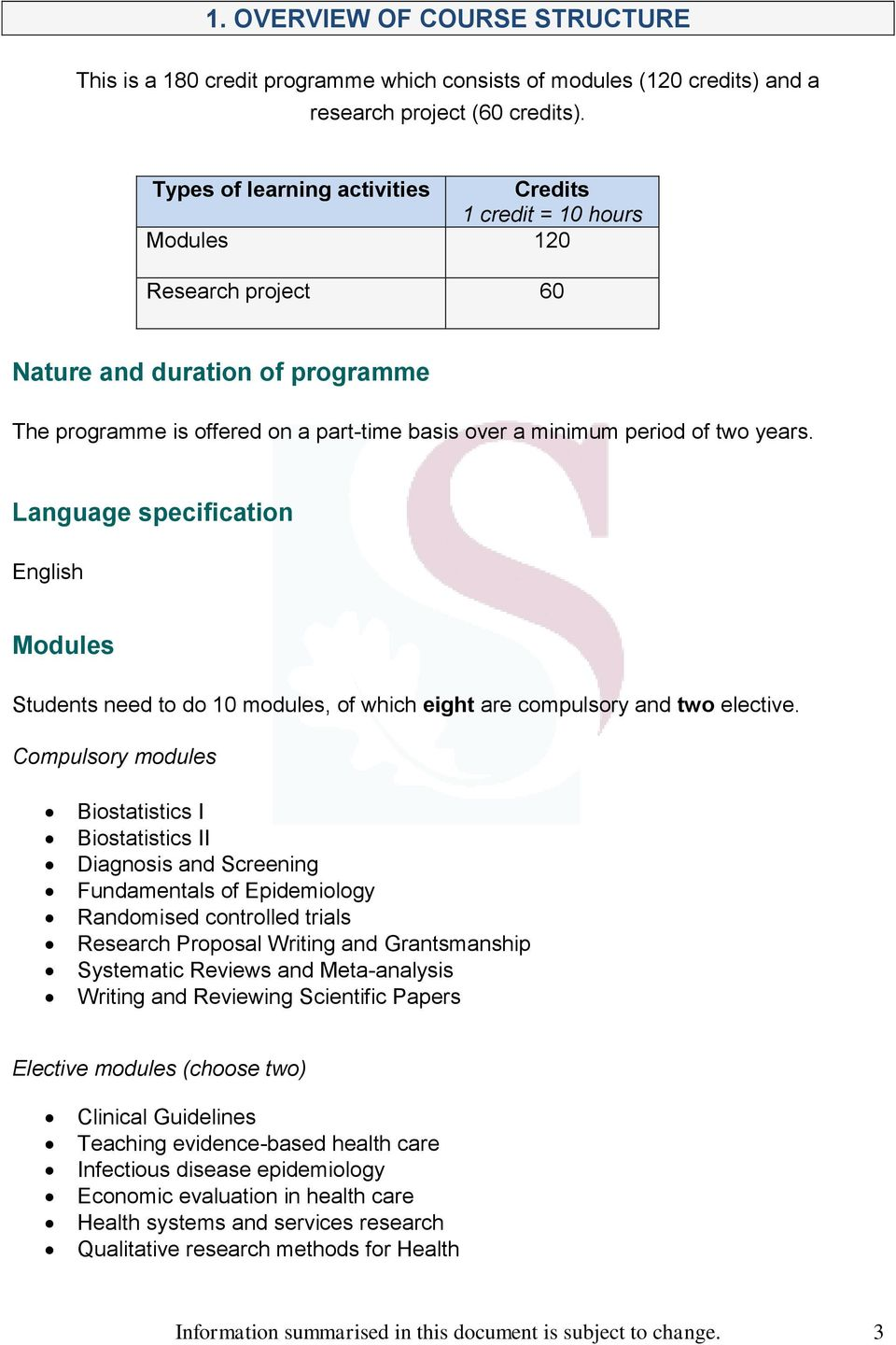 years. Language specification English Modules Students need to do 10 modules, of which eight are compulsory and two elective.