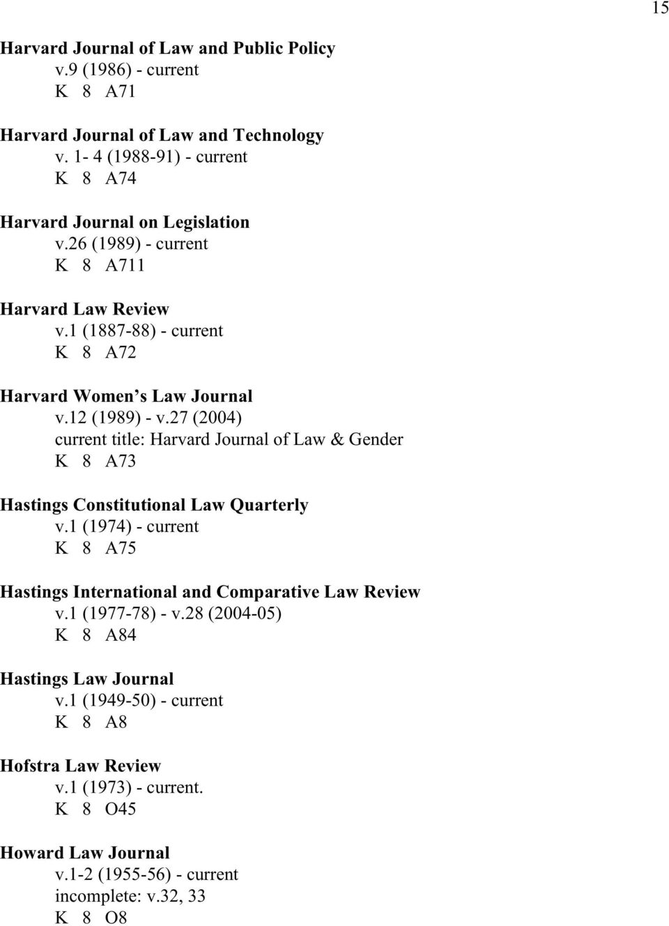 12 (1989) - v.27 (2004) current title: Harvard Journal of Law & Gender K 8 A73 Hastings Constitutional Law Quarterly v.