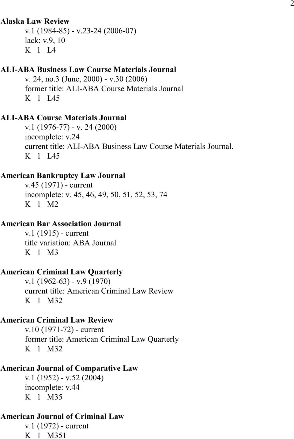 24 current title: ALI-ABA Business Law Course Materials Journal. K 1 L45 American Bankruptcy Law Journal v.45 (1971) - current incomplete: v.