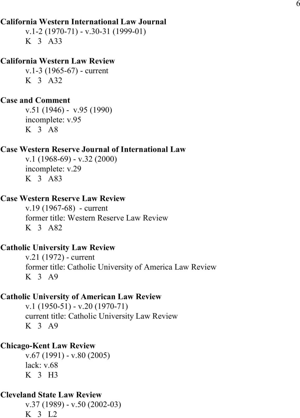 19 (1967-68) - current former title: Western Reserve Law Review K 3 A82 Catholic University Law Review v.