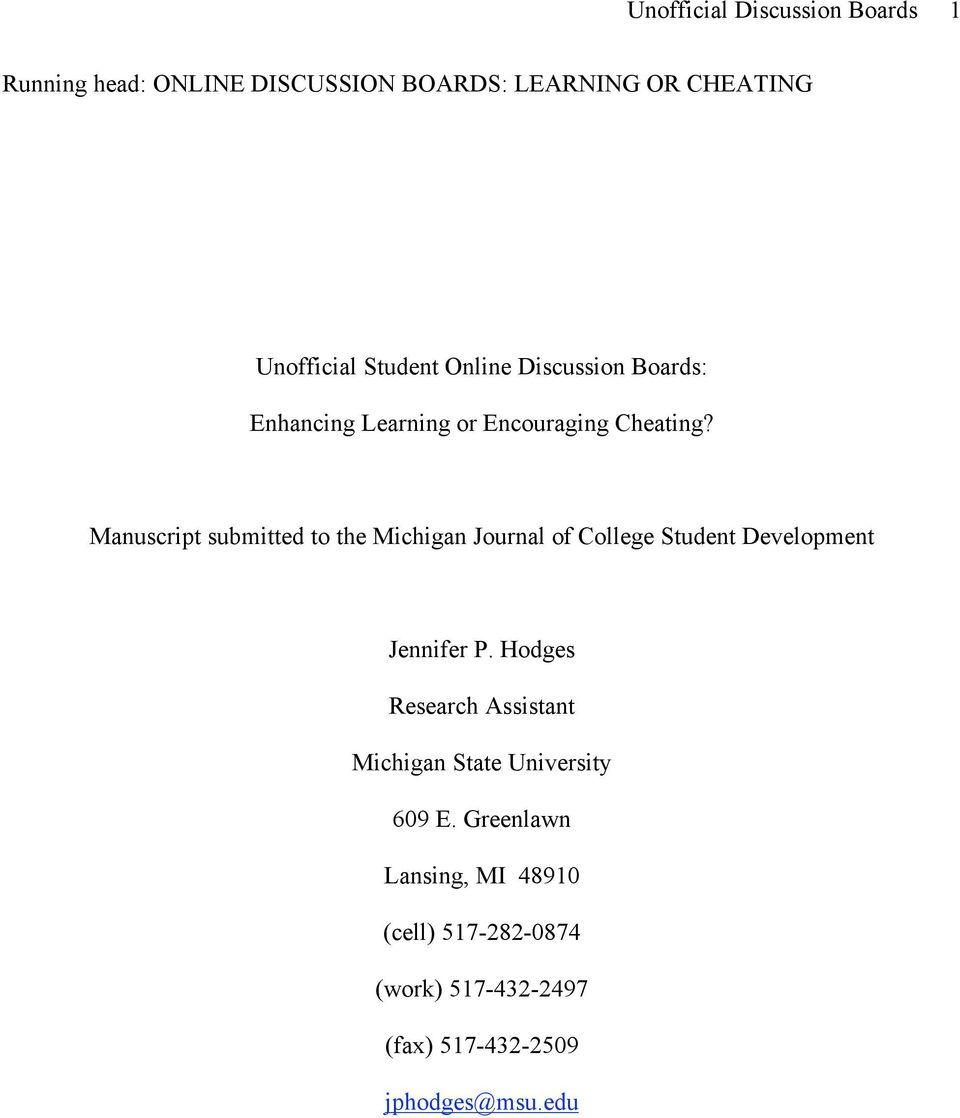 Manuscript submitted to the Michigan Journal of College Student Development Jennifer P.