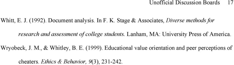 Lanham, MA: University Press of America. Wryobeck, J. M., & Whitley, B. E. (1999).
