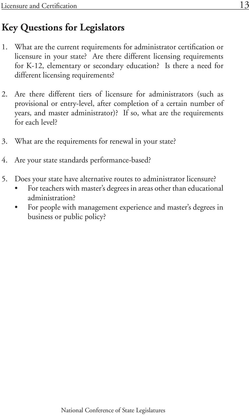 Are there different tiers of licensure for administrators (such as provisional or entry-level, after completion of a certain number of years, and master administrator)?