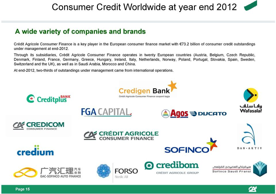 Through its subsidiaries, Crédit Agricole Consumer Finance operates in twenty European countries (Austria, Belgium, Czech Republic, Denmark, Finland, France,