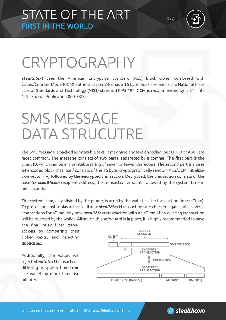 SMS MESSAGE DATA STRUCUTRE The SMS message is packed as printable text. It may have any text encoding, but UTF-8 or ASCII are most common. The message consists of two parts, separated by a comma.