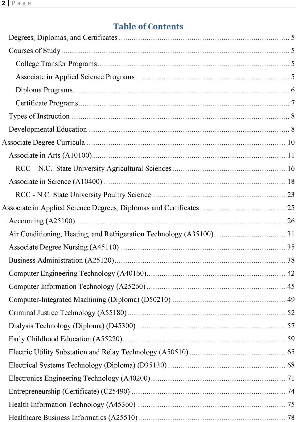 .. 16 Associate in Science (A10400)... 18 RCC - N.C. State University Poultry Science... 23 Associate in Applied Science Degrees, Diplomas and Certificates... 25 Accounting (A25100).