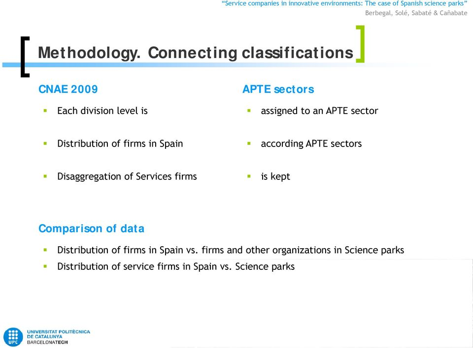 APTE sector Distribution of firms in Spain according APTE sectors Disaggregation of
