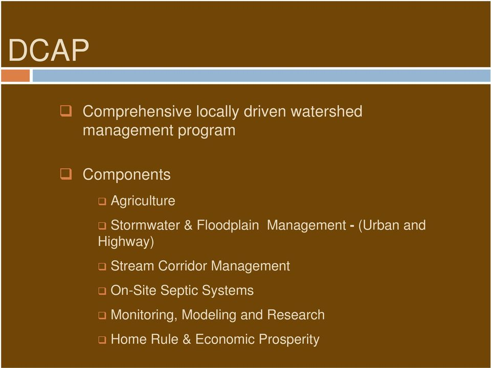 (Urban and Highway) Stream Corridor Management On-Site Septic